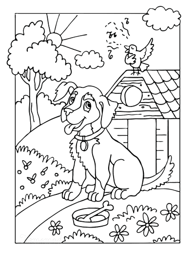 Dog Coloring Pages Farm Dog With Bone