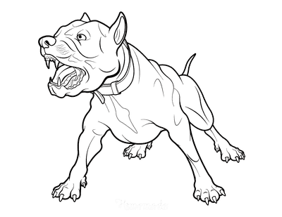 Dog Coloring Pages Fierce Barking Dog