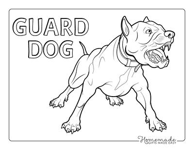 Dog Coloring Pages Fierce Barking Dog