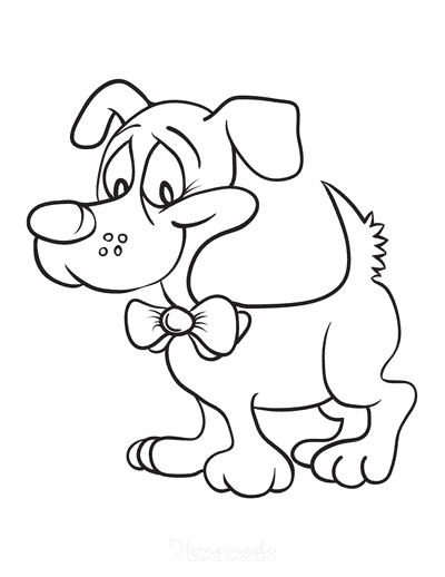 Dog Coloring Pages Funny Cartoon Bow