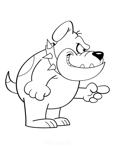 Dog Coloring Pages Funny Cartoon Bulldog