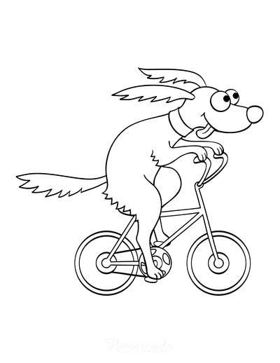 Dog Coloring Pages Funny Cartoon Dog Riding Bicycle