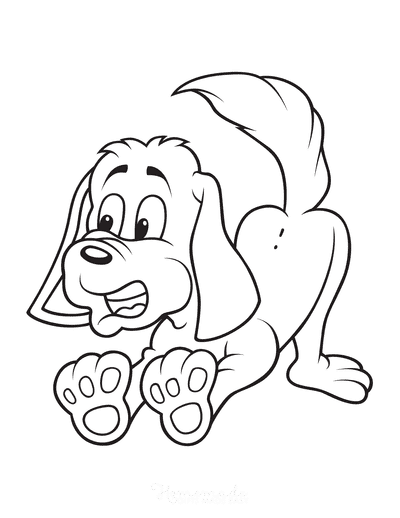 Dog Coloring Pages Funny Cartoon Dog Stopping