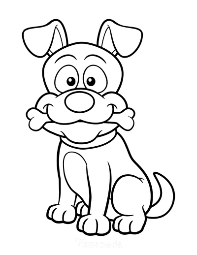 Dog Coloring Pages Funny Cartoon Dog With Bone