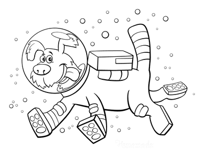 Dog Coloring Pages Funny Spacesuit Cartoon