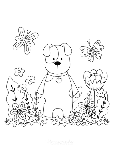 Dog Coloring Pages Garden Butterflies Flowers Cute Puppy
