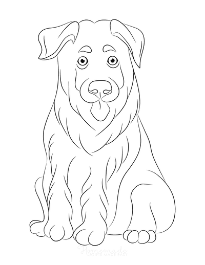 Dog Coloring Pages German Shepherd Puppy Outline