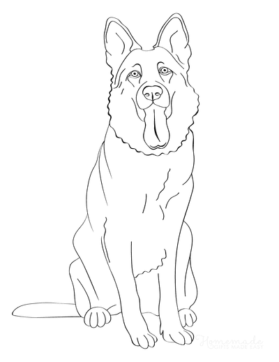Dog Coloring Pages German Shepherd Smiling Outline