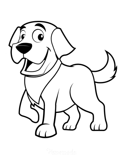 Dog Coloring Pages Happy Cute Cartoon Dog