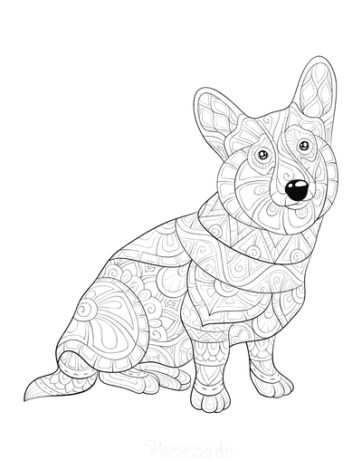 Dog Coloring Pages Intricate Pattern for Adults