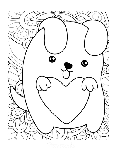 Dog Coloring Pages Kawaii Puppy Patterned Background