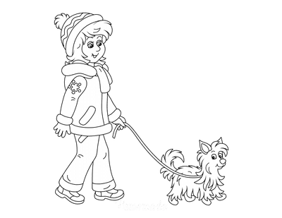 Dog Coloring Pages Lady Taking Dog for Walk
