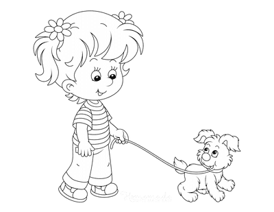 Dog Coloring Pages Little Girl Walking Puppy Dog
