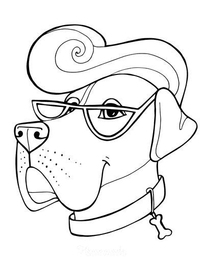 Dog Coloring Pages Mastiff Face Funny Cartoon Glasses