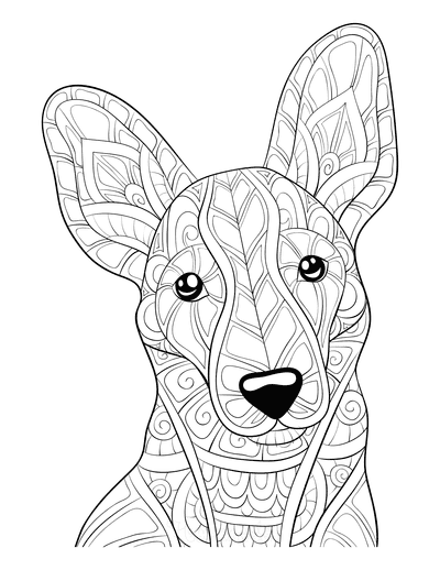 Dog Coloring Pages Patterned Face for Adults
