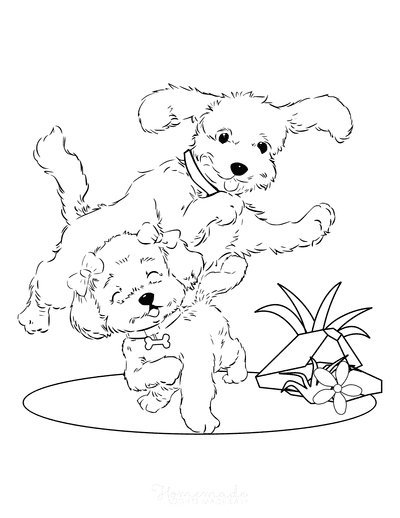 Dog Coloring Pages Poodles Cute Playing