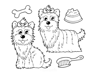 Dog Coloring Pages Pretty Dogs Cartoon Grooming