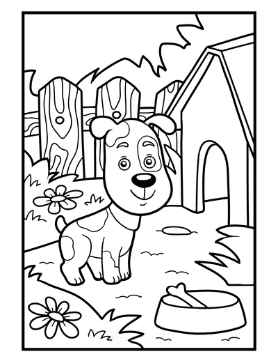 Dog Coloring Pages Puppy Dog Kennel Bone