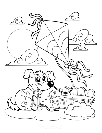 Dog Coloring Pages Puppy Flying Kite