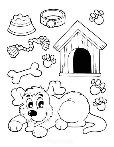 Dog Coloring Pages Puppy Kennel Bone Rope Preschool