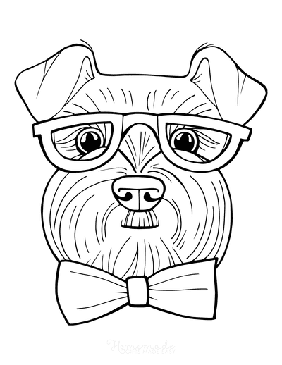 Dog Coloring Pages Schnauzer Face Funny Cartoon Glasses Bowtie