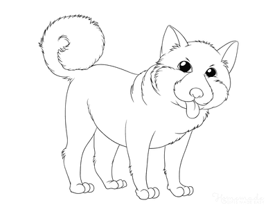 Dog Coloring Pages Shiba Inu Outline