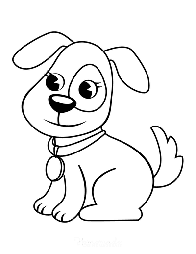 Dog Coloring Pages Simple Outline for Preschoolers