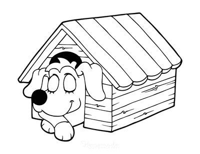 Dog Coloring Pages Sleeping in Kennel Preschoolers