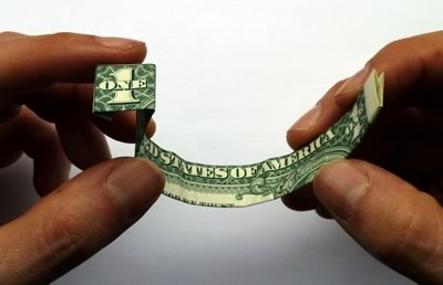 dollar bill ring step 5