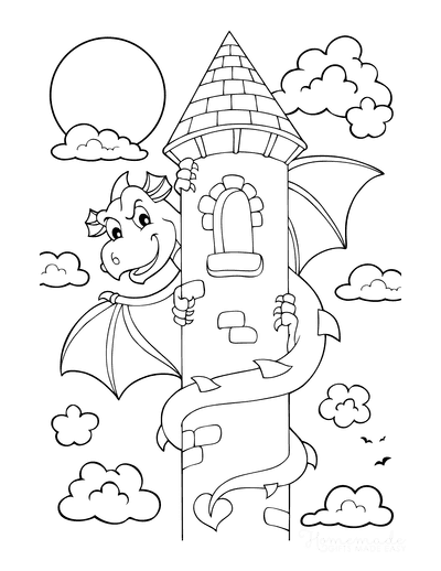 Dragon Coloring Pages Around Castle Tower