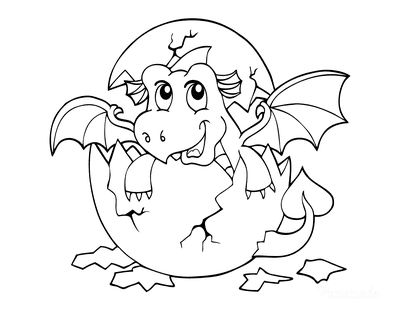Dragon Coloring Pages Baby Dragon Hatching From Egg