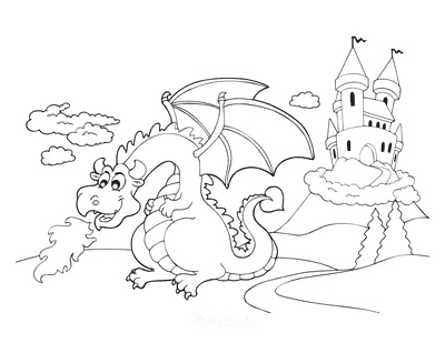Dragon Coloring Pages Breathing Fire Near Castle