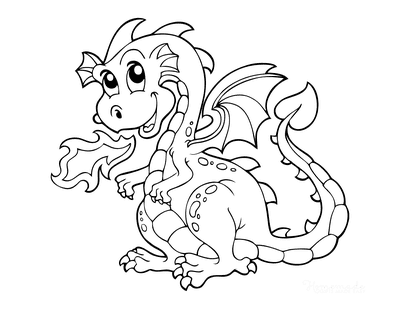 Dragon Coloring Pages Breathing Fire Preschoolers