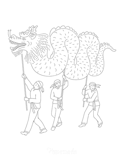 Dragon Coloring Pages Chinese Dragon Dance