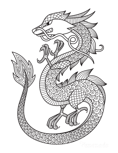 Dragon Coloring Pages Chinese Dragon Detailed Scales