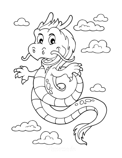 Dragon Coloring Pages Chinese Dragon Flying