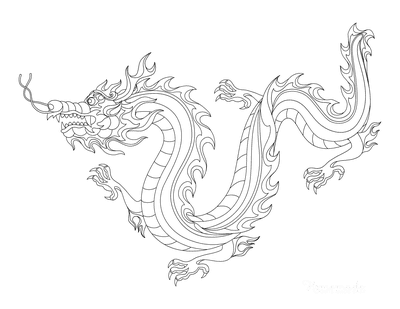 Dragon Coloring Pages Chinese Fire Dragon