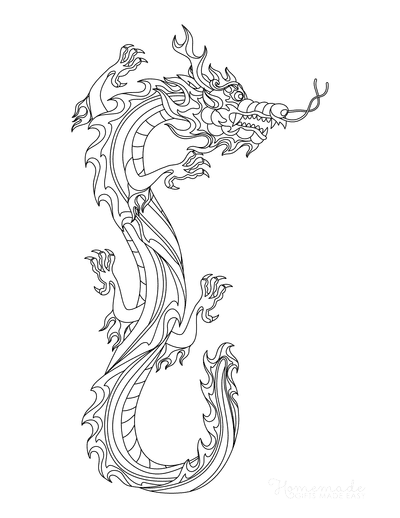 Dragon Coloring Pages Chinese Fire Dragon Flames