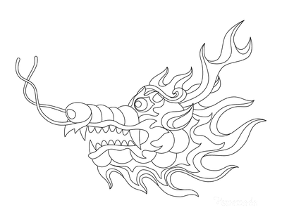Dragon Coloring Pages Chinese Fire Dragon Head