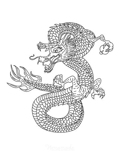 Dragon Coloring Pages Chinese Fire Dragon Intricate Scales