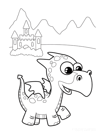 Dragon Coloring Pages Cute Beaked Dragon Castle