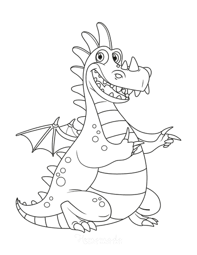 Dragon Coloring Pages Cute Cartoon Dragon for Kids