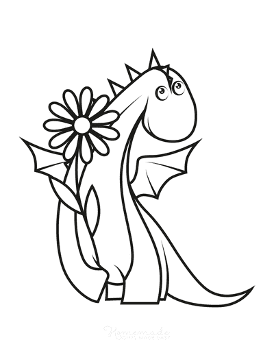 Dragon Coloring Pages Cute Holding Flower