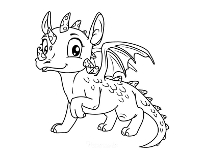 Dragon Coloring Pages Cute Horned Dragon