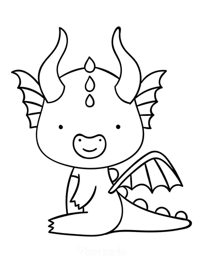 Dragon Coloring Pages Cute Horned Dragon Outline Preschool