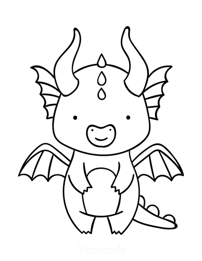 Dragon Coloring Pages Cute Horned Dragon Standing Preschool