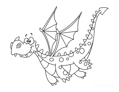 Dragon Coloring Pages Cute Spotty Dragon Flying