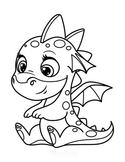 Dragon Coloring Pages Cute Spotty Dragon Preschoolers