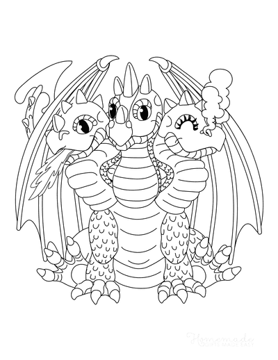 Dragon Coloring Pages Cute Three Headed Dragon Smoke