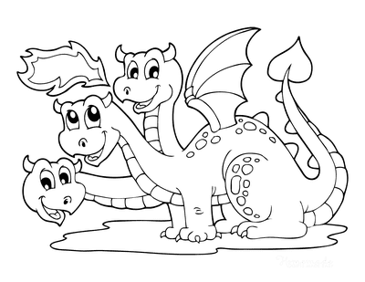 Dragon Coloring Pages Cute Three Heads Breathing Fire